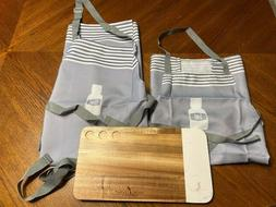 Young Living  Cooking Apron Grey Color Lg / Sm w/ Cutting Bo