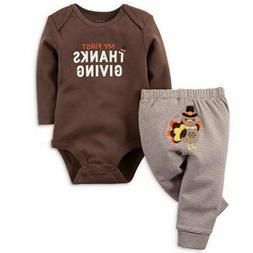 2Pcs My First Thanksgiving Baby Boy Girl Outfit Romper+Strip