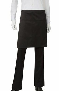 Chef Works Mens Half Bistro Server Apron, Black, 19-Inch Len