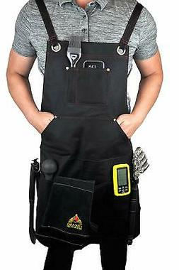 Black Welding BBQ Cooking Apron with Heavy Duty Waxed Canvas