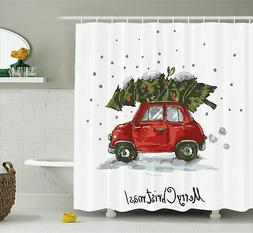 Ambesonne Christmas Shower Curtain, Red Retro Style Car Xmas