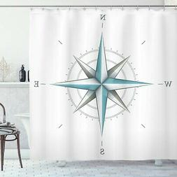 Ambesonne Compass Shower Curtain, Antique Wind Rose Diagram