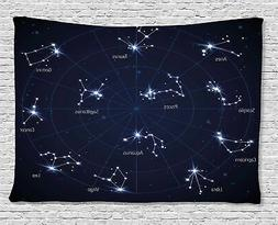 Ambesonne Constellation Tapestry, Sky Star Map with Geometri