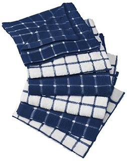 "DII Cotton Terry Windowpane Dish Cloths, 12 x 12"" Set of 6,"