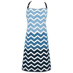 DII Cotton Ombre Chevron Women Kitchen Apron with Pocket and