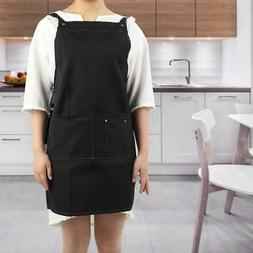 Cotton Work Apron Adjustable Chef Apron with Cross-back Stra