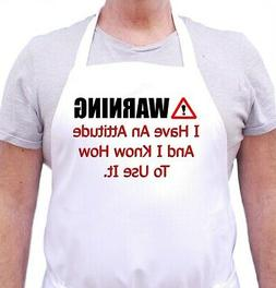 Funny Chef Apron Warning I Have An Attitude Aprons For Men &