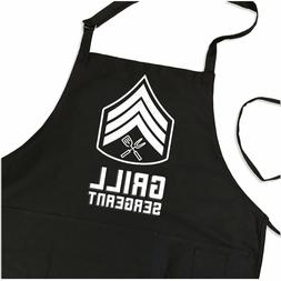 Grill Sergeant Apron for Grilling, Funny Military Gift for M