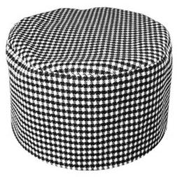 2 PK  Houndstooth Chef C23 Beanie Hat Skullcap Cook Hat Sous