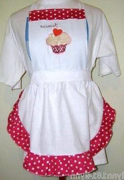 KIDS PINK RIBBON BREAST CANCER CUPCAKE APRON Up to 12 years