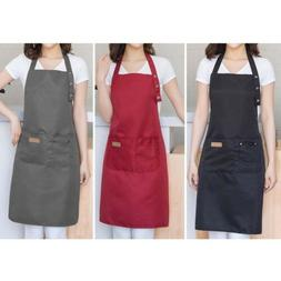 Kitchen Waterproof Canvas Apron Baking Cooking Chef Apron Po