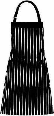 Adjustable Bib Apron with Pockets - Extra Long Ties, Commerc