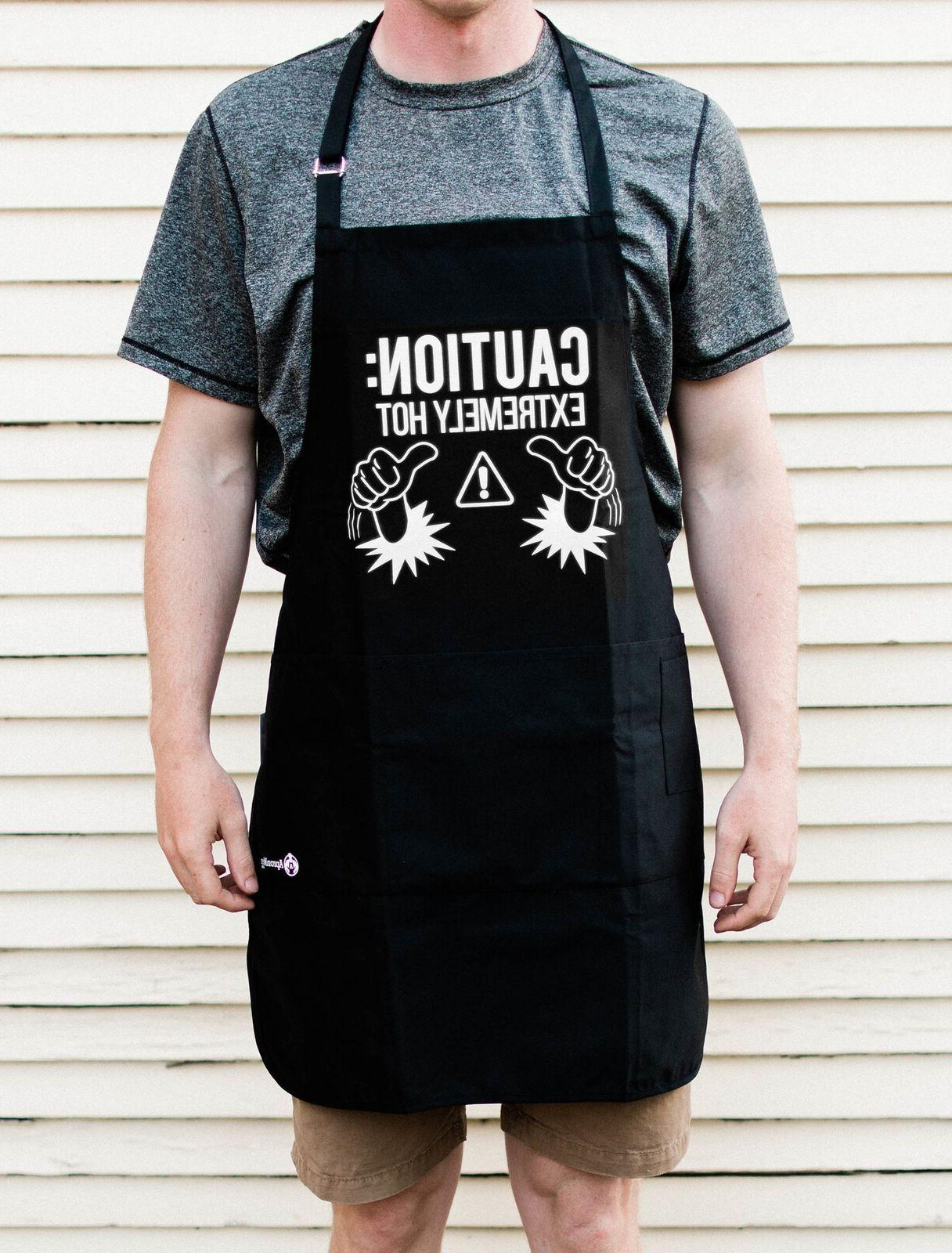 Caution: Hot Grill BBQ Funny Apron Gift ApronMen