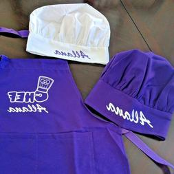 Personalized Kids Chef Apron and Chef Hat Cooking Set   Colo