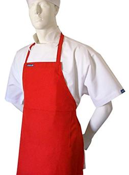 CHEFSKIN Red Chef Apron w/ Fully Adjustable Neck Straps Size