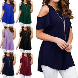 USA Plus Size Womens Blouse Cold Shoulder Summer Tee T Shirt