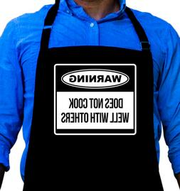 Warning Cooking BBQ Funny Apron Gift for Husband, Dad, or Gr