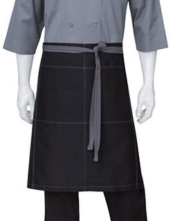 Chef Works Wide Half Bistro Server Apron with Contrast Ties